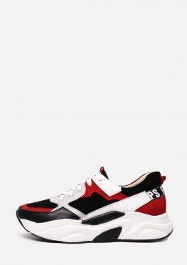 Белые кожаные кроссовки с красными и черными вставками
