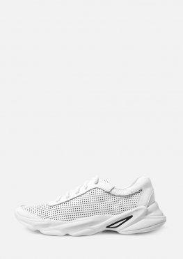 Белые кожаные мужские кроссовки с перфорацией