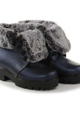 Синие ботинки с мехом