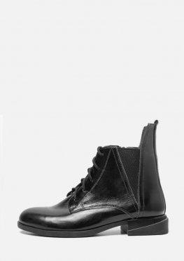 Женские лаковые демисезонные ботинки на низком ходу со шнурком и молнией