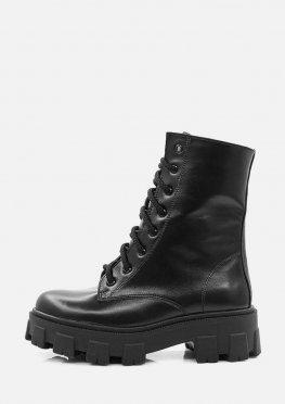 Высокие кожаные демисезонные ботинки на платформе