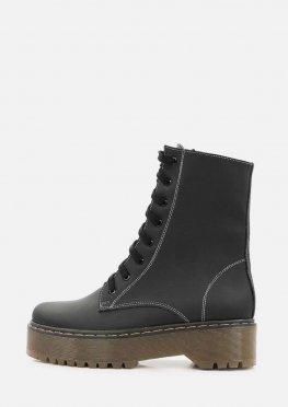 Зимние высокие ботинки из матовой черной кожи