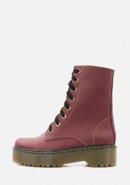 Высокие бордовые ботинки на меху