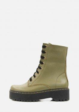 Демисезонные высокие ботинки на платформе цвета хаки