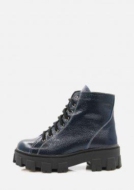 Зимние лаковые ботинки синего цвета