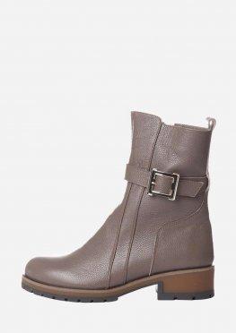 Ботинки женские на зиму из натуральной кожи на невысоком каблуке