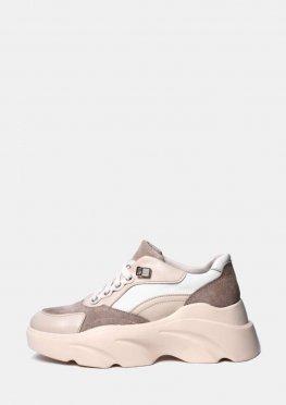 Бежевые кожаные кроссовки на высокой подошве