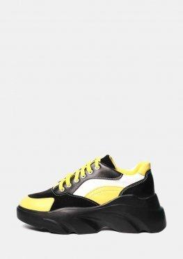 Желтые кроссовки женские кожаные