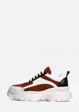 Кожаные кроссовки на белой подошве