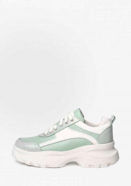 Салатовые кроссовки на толстой белой подошве