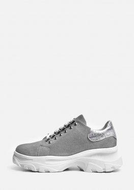 Замшевые туфли со шнурком на белой подошве
