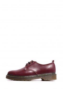 Женские бордовые туфли на шнурках и невысокой подошве