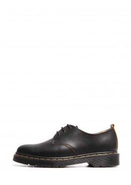 Черные туфли дерби из матовой кожи на темной подошве