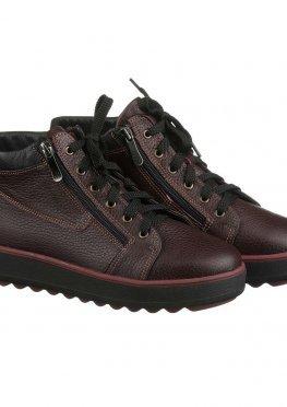 Зимние бордовые ботинки на молнии