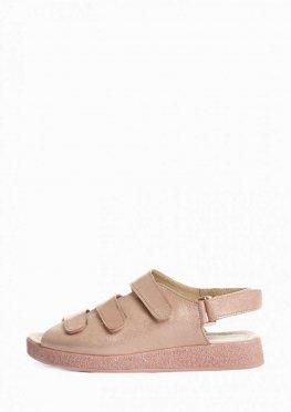 Кожаные босоножки с блестящей подошвой на липучках
