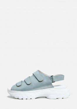 Кожаные босоножки небесно-голубого цвета с липучками
