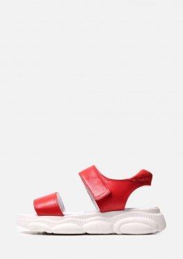 Красные кожаные спортивные босоножки