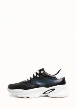 Кожаные синие кроссовки на белой подошве
