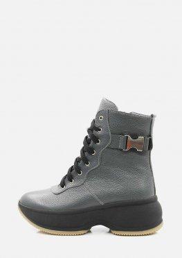 Зимние теплые кожаные ботинки цвета графит