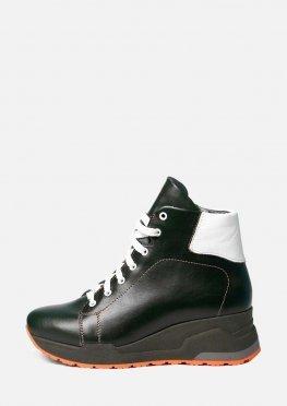 Женские зимние ботинки из гладкой кожи зеленого цвета