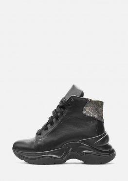 Кожаные спортивные черные ботинки