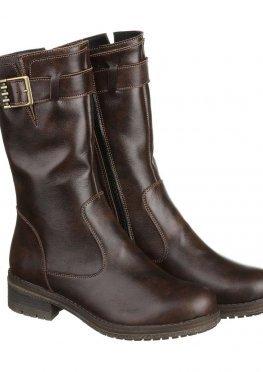 Модные коричневые сапоги на низком каблуке с пряжкой