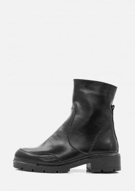 Женские черные зимние кожаные ботинки на низком ходу