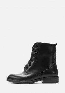 Классические зимние кожаные ботинки со шнурком и молнией