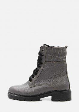 Зимние кожаные ботинки цвет графит на низком ходу