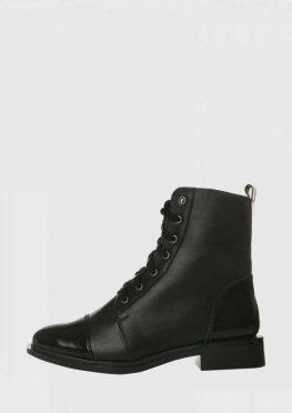 Зимние черные ботинки на шнурке и со змейкой