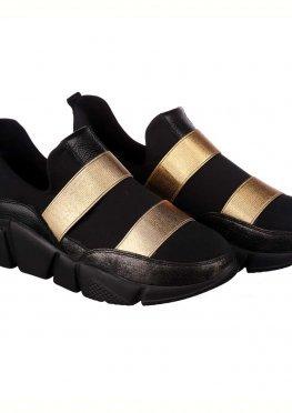 Черные женские кроссовки с золотыми вставками