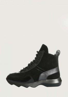 Модные зимние кожаные ботинки на рифленой подошве