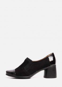 Черные замшевые туфли на устойчивом каблуке с лаковым носком