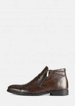 Коричневые мужские кожаные зимние ботинки с двумя змейками