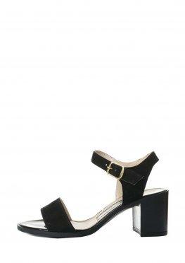 Черные замшевые классические босоножки на устойчивом каблуке