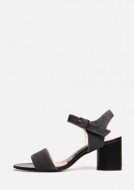 Серые замшевые на устойчивом каблуке