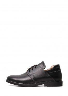 Черные классические кожаные туфли на низком ходу