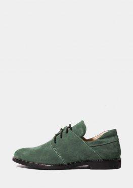 Стильные замшевые туфли зеленого цвета