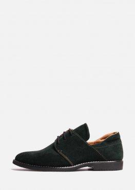 Замшевые туфли зеленого цвета низком ходу