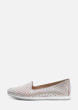 Светлые  женские туфли с перфорацией без шнурков
