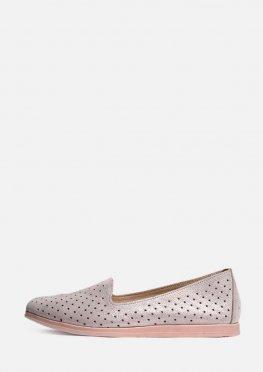 Кожаные весенние туфли на низком ходу