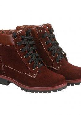 Яркие бордовые ботинки зимние на шнуровке