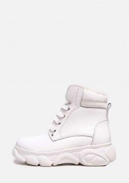 Кожаные белые ботинки на меху в спортивном стиле
