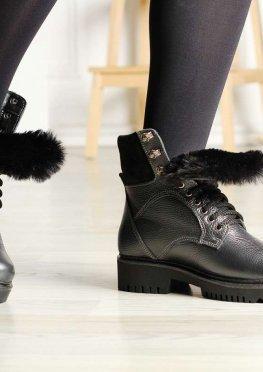 Зимние ботинки цвета грфит с опушкой