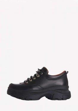 Крутые туфли из натуральной кожи на высокой платформе