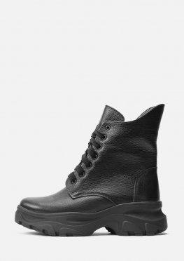 Стильные зимние ботинки из натуральной кожи черного цвета