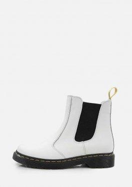 Белые кожаные ботинки с резинками в стиле Челси