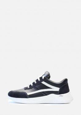 Кожаные кроссовки синего цвета с белыми вставками