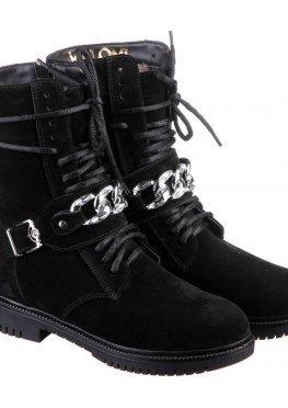 Стильные замшевые ботинки с ремешком