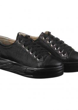 Кожаные черные с серебром слипоны на шнуровке